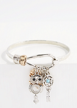 Dreamcatcher Charm Hooked Bangle Bracelet