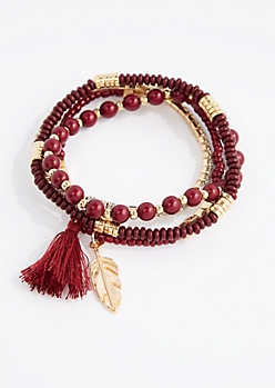 Burgundy Tassel Charm Beaded Bracelet Set