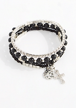 Black Crucifix Beaded Bracelet Set
