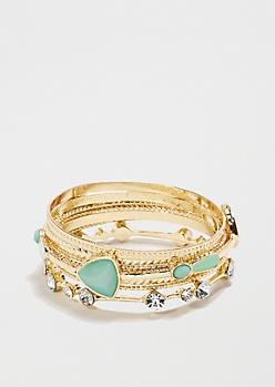 Mint Gem Embossed Bangle Bracelets