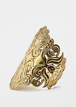 Gold Tone Floral Stamped Statement Cuff