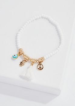 White Beaded Hamsa Charm Bracelet