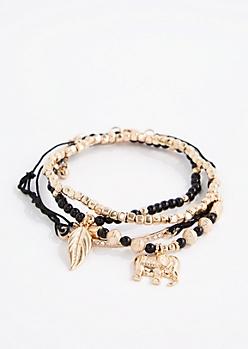 Black Elephant Beaded Bracelet Set