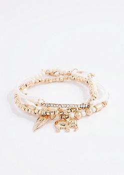 Ivory Elephant Beaded Bracelet Set
