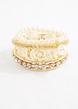 Ivory Rose & Pearl Bracelet Set