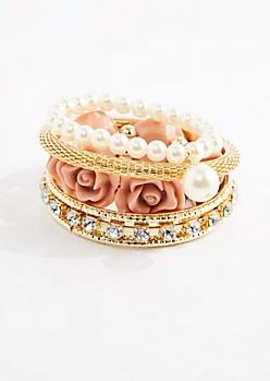 Pink Rose & Pearl Bracelet Set