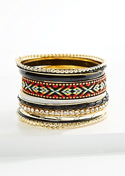 11- Pack Golden Tribal Mix Bangle Set