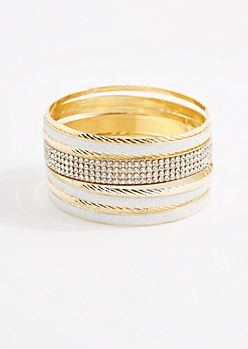 Gold Tone Diamante Bangle Set