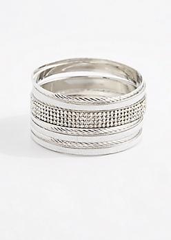 Silver Tone Diamante Bangle Set
