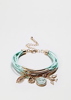 Mint Charm Cluster Bracelet