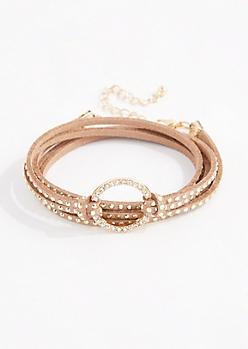 Tan Diamante Ring Wraparound Bracelet