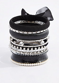 Black Chiffon Wrapped Bangle Set