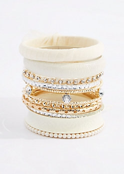 Ivory Chiffon Wrapped Bangle Set
