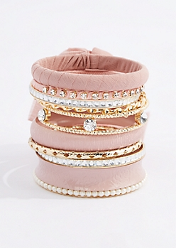 Pink Chiffon Wrapped Bangle Set