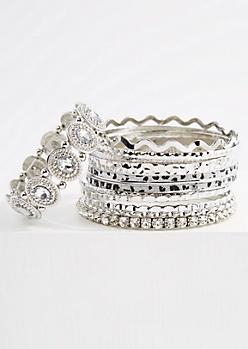 12-Pack Silver Leopard Diamond Dust Bracelets