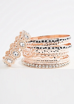 12-Pack Rose Gold Leopard Diamond Dust Bracelets