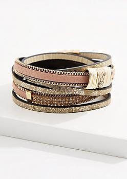 Stone Beaded Wrap Bracelet