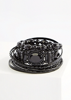 8-Pack Black Vintage Gem Bracelet Set