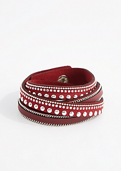 Burgundy Studded Wrap Bracelet