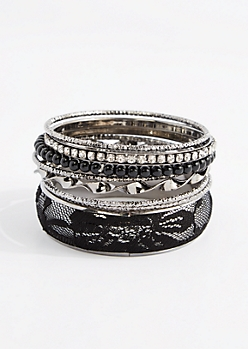 8-Pack Black Lace & Vegan Pearl Bangles