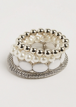 4-Pack Stone Embellishes Stretch Bracelet Set