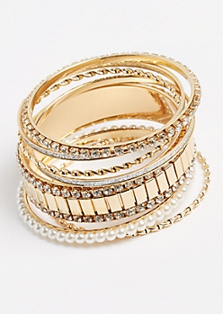 7-Pack Gold Twisted & Rhinestone Bangle Set