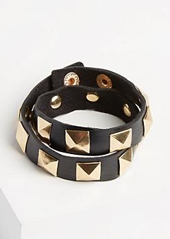Pyramid Studded Wrap Bracelet