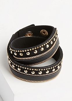 Black Studded & Chained Wrap Bracelet