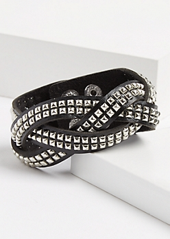 Braided Pyramid Studded Wrap Bracelet