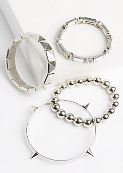 4-Pack Silver Beaded & Studded Bracelet