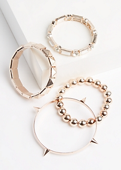 4-Pack Rose Gold Beaded & Studded Bracelet