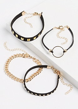 4-Pack Gold Metal Studded Bracelet Set