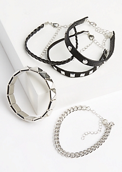 5-Pack Silver Studded Leather Bracelet Set