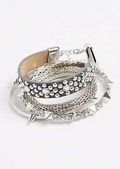 4-Pack Silver Spike Bangle Set