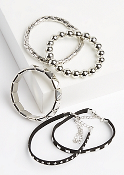 5-Pack Silver Metallic Beaded & Studded Bracelet Set