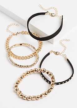 5-Pack Gold Studded Cuff Bracelet Set