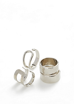 Metallic Silver Cuff Ring Set