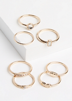 7-Pack Gold Metal Infinity Ring Set