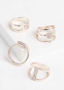 4-Pack Rose Gold Metal & Stone Ring Set