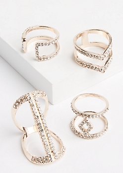 4-Pack Rose Gold Metal & Rhinestone Ring Set