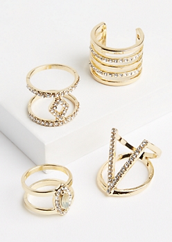 4-Pack Gold Metallic Geo Ring Set