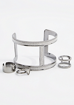 Gunmetal Diamond Dust Cuff & Ring Set