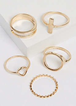 5-Pack Geo Golden Ring Set - Extended Fit