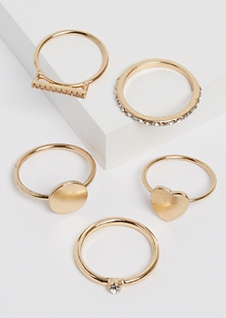 5-Pack Stone Heart Ring Set