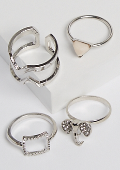 4-Pack Stone Elephant Ring Set