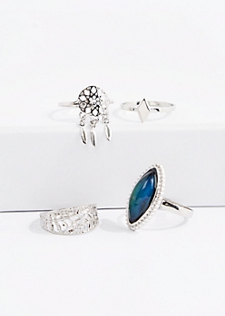 4-Pack Marquise Cabochon Mood Ring Set
