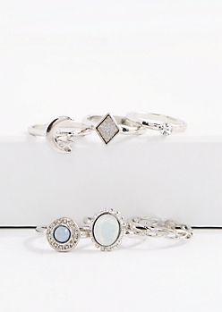 Crescent Moon & Gem Ring Set