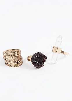 Mystical Prism & Druzy Ring Set