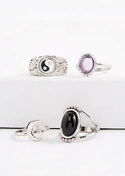 Yin Yang & Gem Ring Set