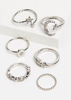 6-Pack Silver Metal Celestial Design Ring Set